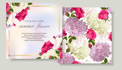 Vector banners set with roses, hydrangea and tulips flowers.