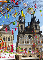 Easter Tree at the Old Town Square in Prague.Czech Republica