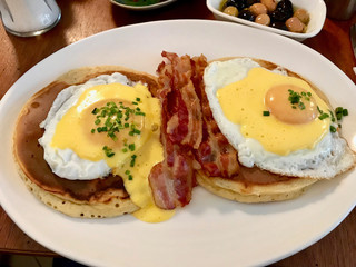 Salty Pancakes with Eggs and Crispy Bacon for Breakfast.