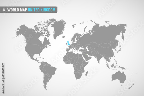 World Map With The Identication Of United Kingdom Map Of United