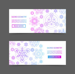 Sacred geometry gradient colorful ornament modern futuristic banner set. Cosmic design ornamental background template. EPS 10 vector geometric backdrop. Clipping masks
