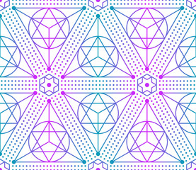 Gradient colorful seamless sacred geometry pattern. Golden sacral geometric occult cosmic line art signs for fabric prints, surface textures, cloth design, wrapping. EPS10 vector backdrop.