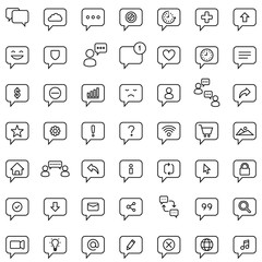 Chat Icon Set. Speech Bubble Sign. Conversation, Communications Symbol.