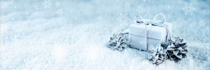 Surprise gift in blue frosty snow