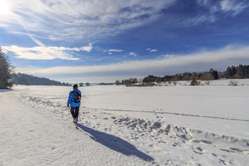 Walking in the snow on the swabian alb