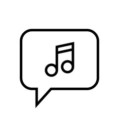 Chat Icon. Speech Bubble Sign. Conversation, Communications Symbol. Music Icon
