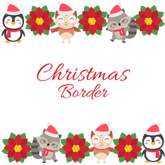 cute christmas horizontal border with animal cartoon flat style