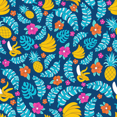 Seamless pattern with bright tropical fruits and plant ornament. Pop art patches colourful background for fabric print, wrapping paper, textile design. EPS 10 vector ecology style floral illustration