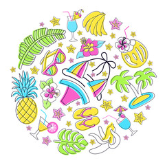 Hawaiian patch round set. Fashionable pins 80s-90s style. Colorful drawings of fruits, drinks, beach wear, accessory. Circle floral background. EPS 10 vector illustration