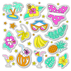 Hawaiian retro patch set. Fashionable pins 80s-90s style. Colorful drawings of fruits, drinks, beach wearA, leaves, exotic flowers. EPS 10 vector illustration.