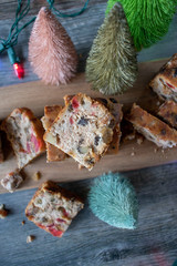 Christmas fruit cake slices in festive setting