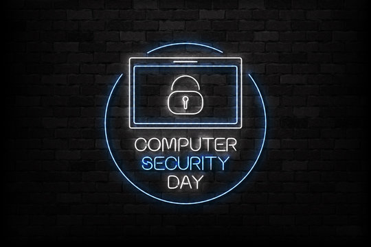 Vector realistic isolated neon sign of 30 November, Computer Security Day logo for decoration and covering on the wall background.