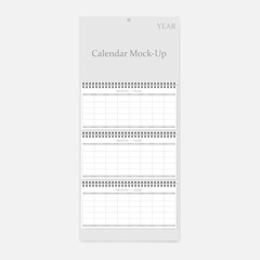3-month quarterly vertical wall calendar for any year, vector mock-up
