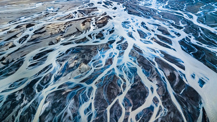 Drone view of an Icelandic riverbed Fototapete