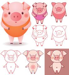 Funny piggy vector color illustrations
