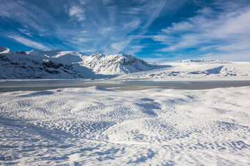 Jokulsarlon snow landscape in Hvannadalshnukur, Iceland for beautiful background