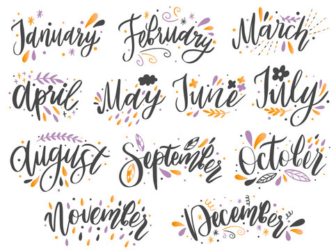 Handwritten names of months: December, January, February, March, April, May, June, July, August,September, October ,November Calligraphy words for calendars and organizers.