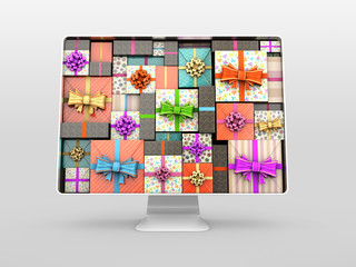 Computer monitor with gifts on screen. 3d Illustration isolated white