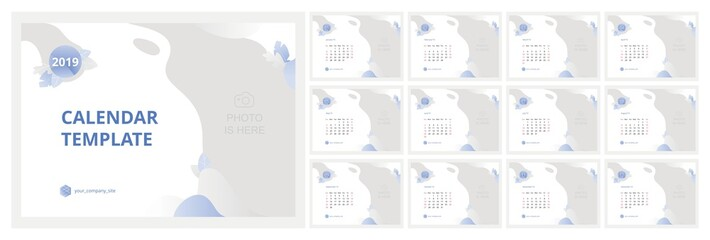 Calendar 2019 Template Design