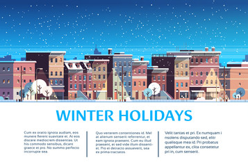 city building houses night winter street cityscape merry christmas happy new year holiday greeting card copy space template flat horizontal flat vector illustration