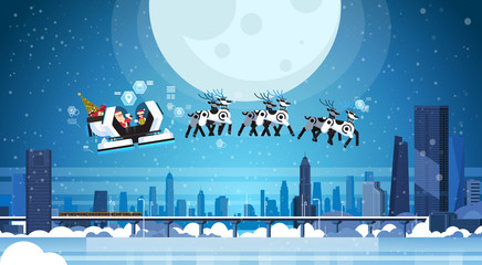 Santa flying in robotic modern sleigh with robot reindeers artificial intelligence merry christmas happy new year greeting card concept monorail cityscape background horizontal flat vector