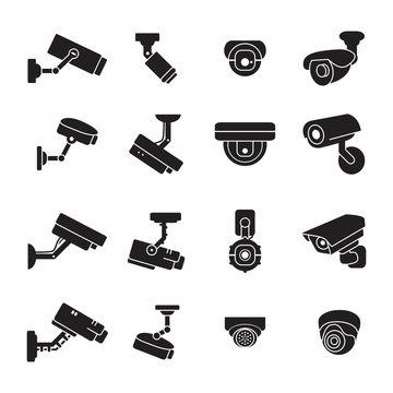 Video surveillance camera icon set. Vector.