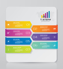 7 steps Timeline infographic element. 7 steps infographic, vector banner can be used for workflow layout, diagram,presentation, education or any number option. EPS10.