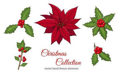 Christmas set with hand drawn plants.
