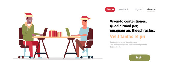mix race couple working together office workplace merry christmas happy new year celebrating concept flat horizontal copy space vector illustration