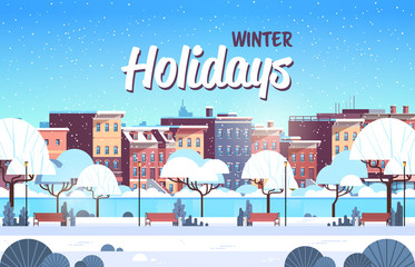 city winter park wooden bench light lamp street house building cityscape background merry christmas happy new year concept flat horizontal vector illustration