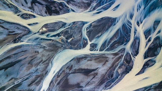 Drone view of an Icelandic riverbed