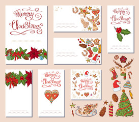 Festive templates with different traditional Christmas symbols and decoration.