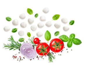 Composition with Mozzarella,  basil leaf, rosemary and tomatoes  isolated  on white background. Traditional Italian Mozarella cheese balls close up. Top view