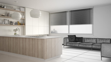 Unfinished project draft of modern kitchen with shelves and cabinets, sofa and panoramic window. Contemporary living room, minimalist architecture interior design
