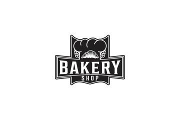 Pastries, Wheat Grain, Chef Hat, Vintage Bakery Logo