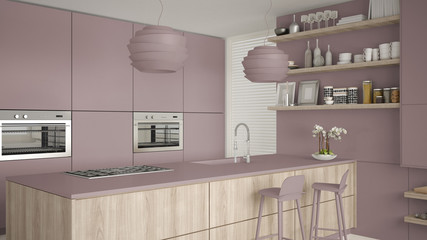 Modern violet and wooden kitchen with shelves and cabinets, island with stools. Contemporary living room, minimalist architecture interior design