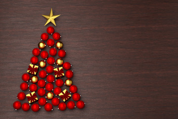 3D render: Christmas tree made from christmas baubles on a wooden background. Copy space to the right.