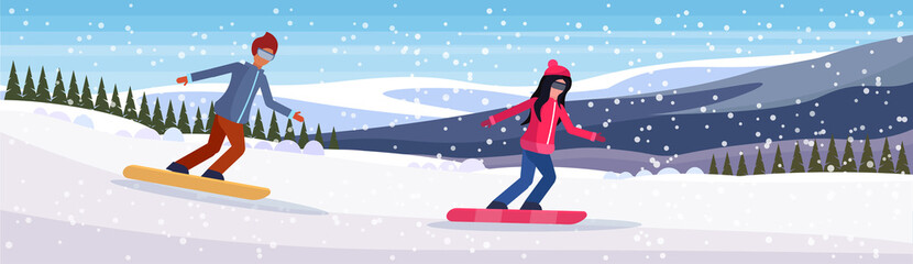 snowboarder couple sliding down snowy mountain fir tree forest landscape background man woman snowboarding winter vacation flat horizontal vector illustration