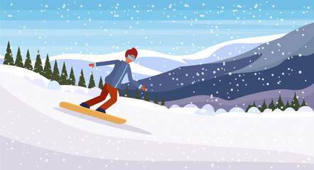 Snowboarder man sliding down snowy mountain fir tree forest landscape background sportsman snowboarding winter vacation flat horizontal vector illustration