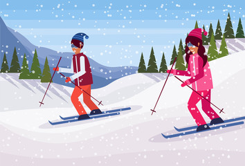 skiers couple sliding down snowy mountain fir tree forest landscape background man woman skiing winter vacation flat horizontal vector illustration