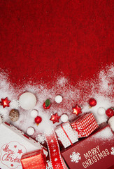 Christmas and New Year Decoration isolated on red background