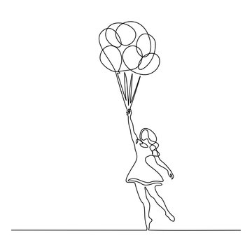 Girl flying with balloon Continuous one line