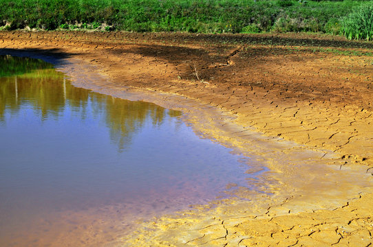Drought drying lake by water shortage