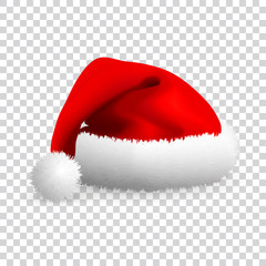 Santa Claus hat isolated on transparent background. Realistic Vector. 3d Illustration.