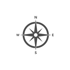 Compass, navigation icon. Vector illustration, flat design.