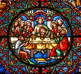 Ely, Cambridgeshire, United Kingdom, July 19th 2007, Ely Cathedral stained glass window depicting the Last Supper with Jesus Christ and the desciples at the table