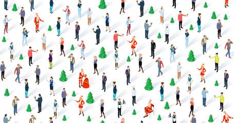 Isometric seamless christmas vector people