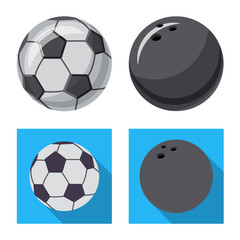 Vector design of sport and ball symbol. Set of sport and athletic stock vector illustration.