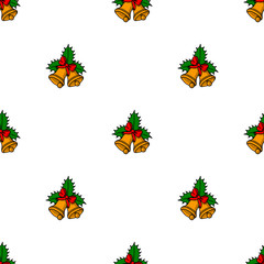 seamless pattern with yellow christmas handbells isolated on white