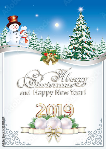 Christmas Card 2019 Happy New Year 2019. Christmas card with Christmas tree and